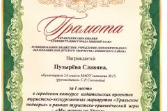 Конкурс издательских проектов. Мы живем на Урале. Пузырёва.2017