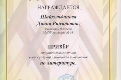 Олимпиада Шайхутдинова лит. 2017