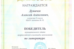 Олимпиада. Лит. Думачев. 2017