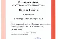 Позн. и тв. Кадникова. 2019